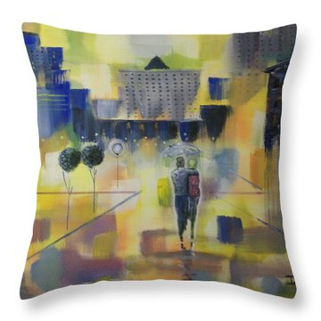 Abstract Stroll Throw Pillow by Raymond Doward