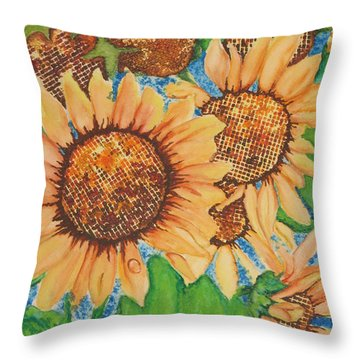 Abstract Sunflowers Throw Pillow by Chrisann Ellis
