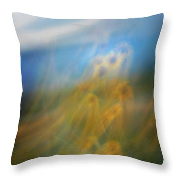Throw Pillow featuring the photograph Abstract Sunflowers by Marilyn Hunt