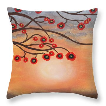 Throw Pillow featuring the painting Abstract Sunset by Jolanta Anna Karolska