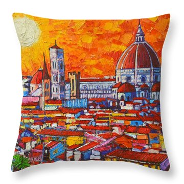 Abstract Sunset Over Duomo In Florence Italy Throw Pillow