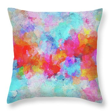 Throw Pillow featuring the painting Abstract Sunset Painting With Colorful Clouds Over The Ocean by Ayse Deniz