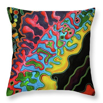 Throw Pillow featuring the painting Abstract Thought by Jolanta Anna Karolska