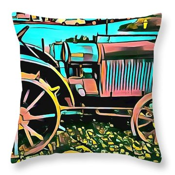 Throw Pillow featuring the digital art Abstract Tractor Los Olivos California by Floyd Snyder