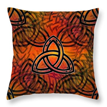 Throw Pillow featuring the digital art Abstract - Trinity by Glenn McCarthy Art and Photography