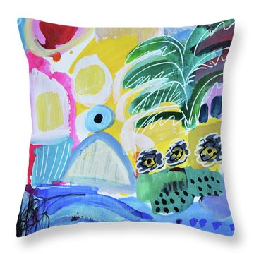Abstract Tropical Landscape Throw Pillow by Amara Dacer