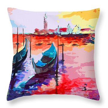 Throw Pillow featuring the painting Abstract Venice Gondolas  by Ginette Callaway