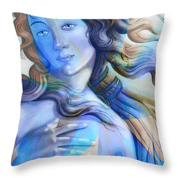 Throw Pillow featuring the painting Abstract Venus Birth 4 by J- J- Espinoza