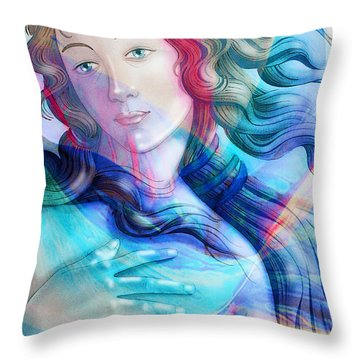 Throw Pillow featuring the painting Abstract Venus Birth 6 by J- J- Espinoza