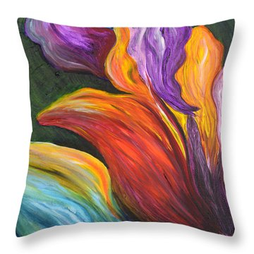 Abstract Vibrant Flowers Throw Pillow