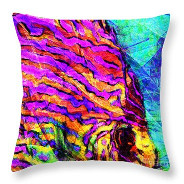 Throw Pillow featuring the photograph Abstract Vibrant Tropical Fish Discus 20170910 Square by Wingsdomain Art and Photography