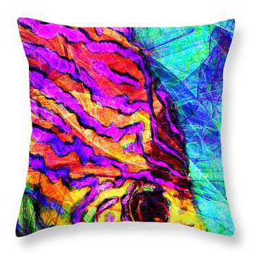 Throw Pillow featuring the photograph Abstract Vibrant Tropical Fish Discus 20170910 by Wingsdomain Art and Photography