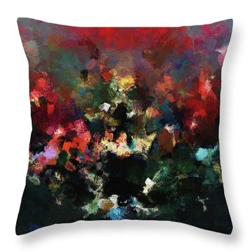 Throw Pillow featuring the painting Abstract Wall Art In Dark Colors by Ayse Deniz