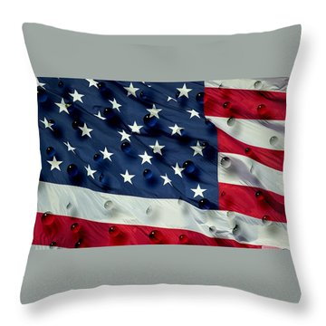 Abstract Water Drops On Usa Flag Throw Pillow by Georgeta Blanaru