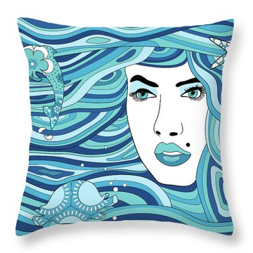 Abstract Water Element Throw Pillow by Serena King