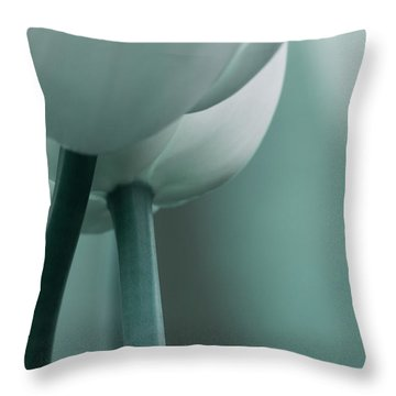 Abstract Blue White Flowers Photography Online Art Print Shop Throw Pillow