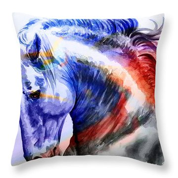 Throw Pillow featuring the painting Abstract White Horse 44 by J- J- Espinoza