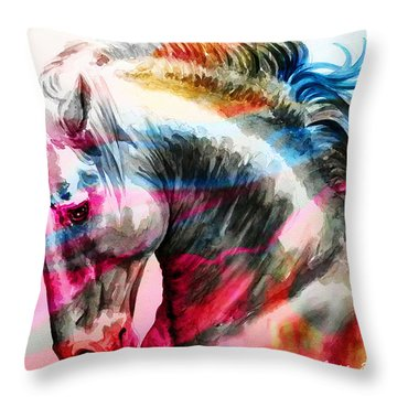 Throw Pillow featuring the painting Abstract White Horse 45 by J- J- Espinoza