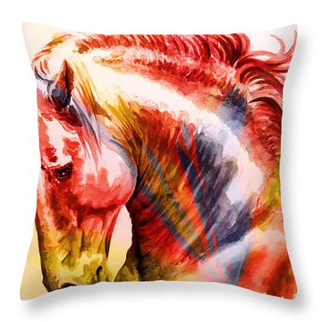 Throw Pillow featuring the painting Abstract White Horse 46 by J- J- Espinoza