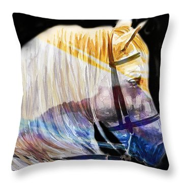 Throw Pillow featuring the painting Abstract White Horse 50 by J- J- Espinoza