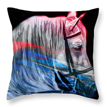 Throw Pillow featuring the painting Abstract White Horse 53 by J- J- Espinoza