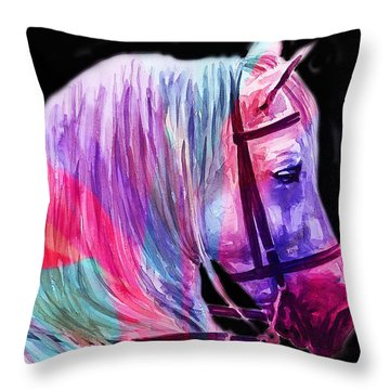 Throw Pillow featuring the painting Abstract White Horse 55 by J- J- Espinoza