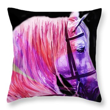 Throw Pillow featuring the painting Abstract White Horse 56 by J- J- Espinoza