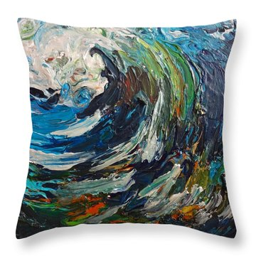 Abstract Wild Wave  Throw Pillow