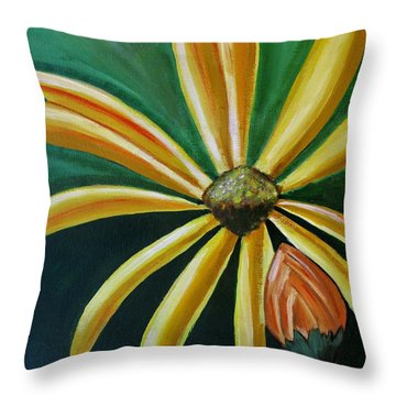 Abstract Yellow Sunflower Art Floral Painting Throw Pillow
