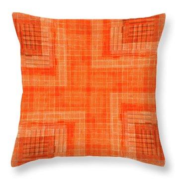 Abstract Window On Orange Wall Throw Pillow by Silvia Ganora