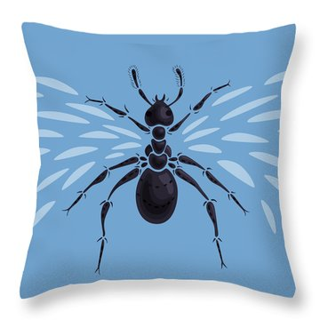 Abstract Winged Ant Throw Pillow by Boriana Giormova