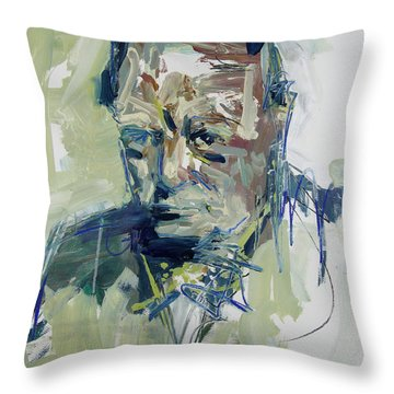 Abstract Winston Churchill Portrait Throw Pillow