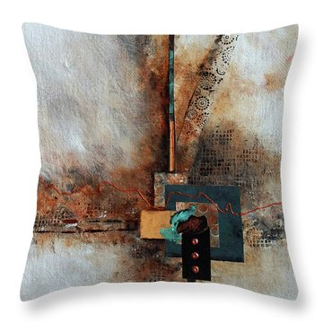 Throw Pillow featuring the painting Abstract With Stud Edge by Joanne Smoley