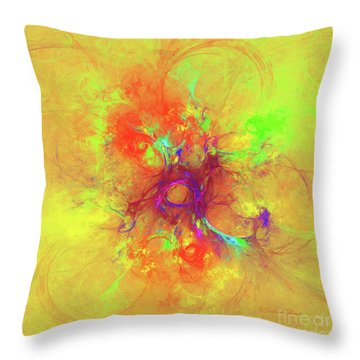 Throw Pillow featuring the digital art Abstract With Yellow by Deborah Benoit