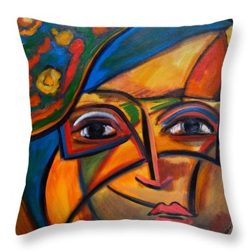 Abstract Woman With Flower Hat Throw Pillow