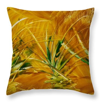 Abstract Yellow, Green Fields   Throw Pillow