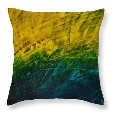Abstract Yellow, Green With Dark Blue.   Throw Pillow