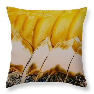 Abstract Yellow, White Waves And Sails Throw Pillow