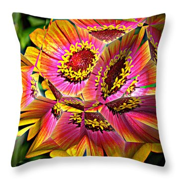 Abstract Yellow Flame Zinnia Throw Pillow by Kathy Kelly