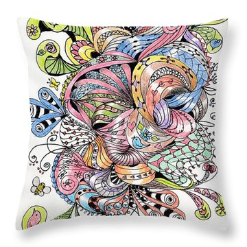Abstract2colored Throw Pillow by Quwatha Valentine