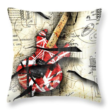 Abstracta 35 Eddie's Guitar Throw Pillow by Gary Bodnar