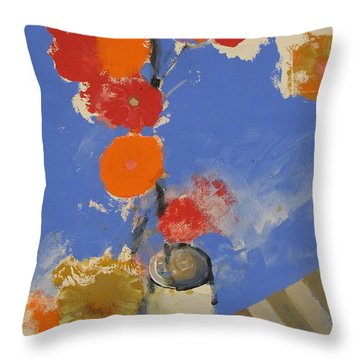 Throw Pillow featuring the painting Abstracted Flowers In Ceramic Vase  by Cliff Spohn