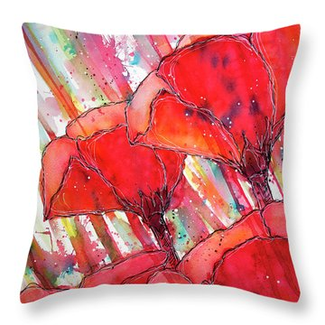 Abstracted Poppies No.2 Throw Pillow