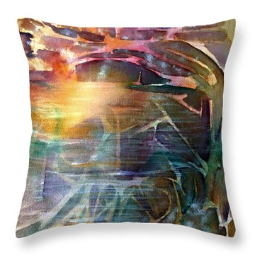 Cavern Travel Throw Pillow by Allison Ashton