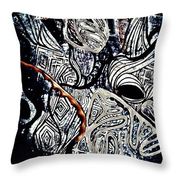 Abstraction In Silver Throw Pillow by Sarah Loft