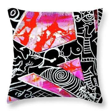 Throw Pillow featuring the painting Abstractions by eVol i