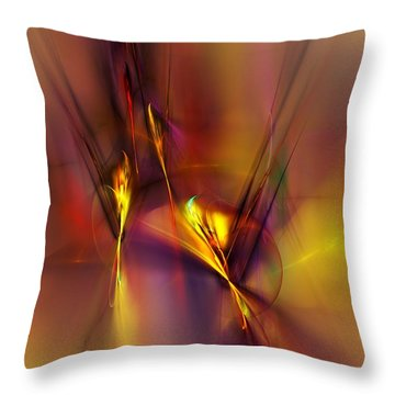 Abstracts Gold And Red 060512 Throw Pillow by David Lane