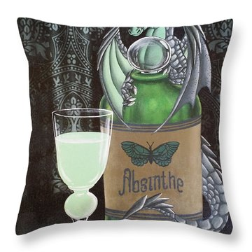 Absinthe Dragon Throw Pillow