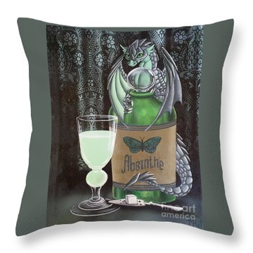 Throw Pillow featuring the painting Absinthe Dragon by Mary Hoy