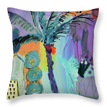 Abtract, Landscape With Palm Tree In California Throw Pillow